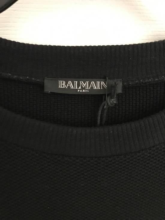 Balmain (PRICE FIRM) $1305 Balmain Leather Trimmed Cotton Floyd Mayweather Sweatshirt Size US L / EU 52-54 / 3 - 7
