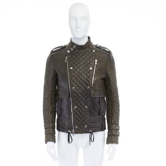 Balmain runway BALMAIN ROUSTEING green quilted leather motorcycle biker jacket EU48 M Size US M / EU 48-50 / 2 - 1