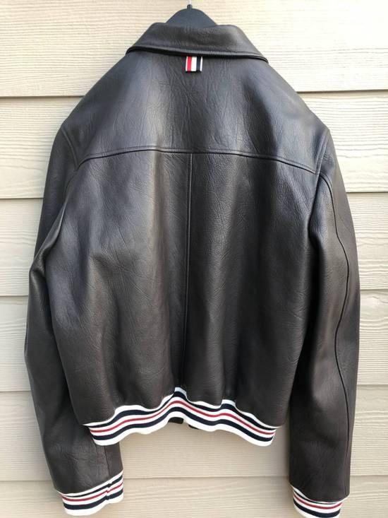 Thom Browne NWT, Striped Detail Leather Jacket (SIZE 4) Size US XL / EU 56 / 4 - 1