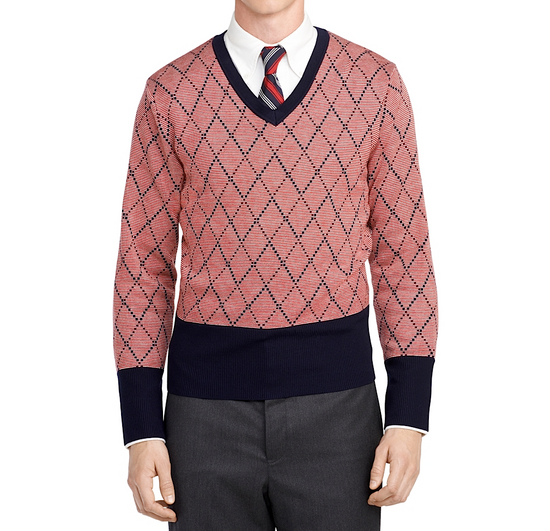 Thom Browne Burgundy Argyle V-Neck Sweater Size 4 NEW Size US XL / EU 56 / 4