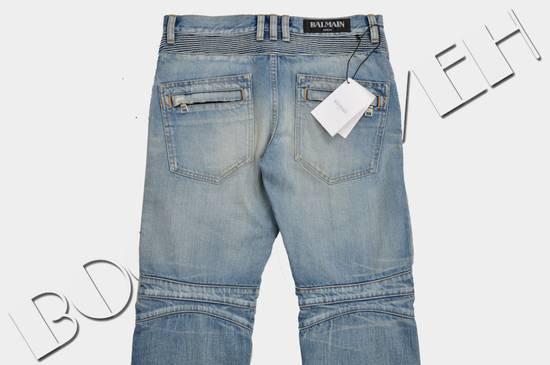 Balmain Slim Signature Light Blue Biker Jeans Size US 29 - 3