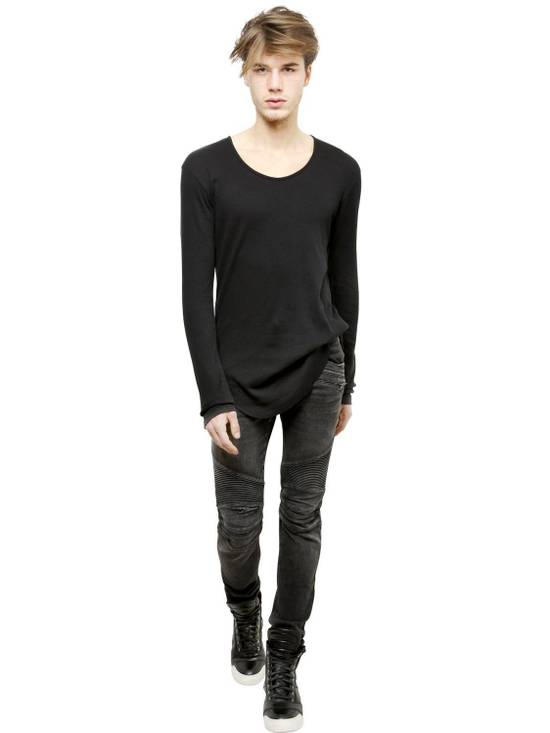 Balmain Black Ribbed Knit Long Sleeve T-shirt Size US S / EU 44-46 / 1 - 3