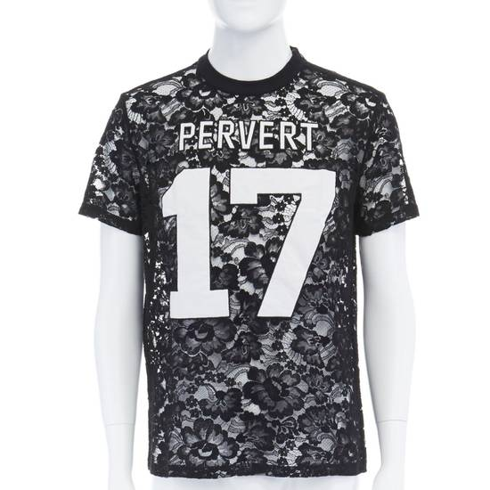 Givenchy GIVENCHY TISCI black sheer lace Pervert 17 patched football jersey top IT38 M Size US M / EU 48-50 / 2