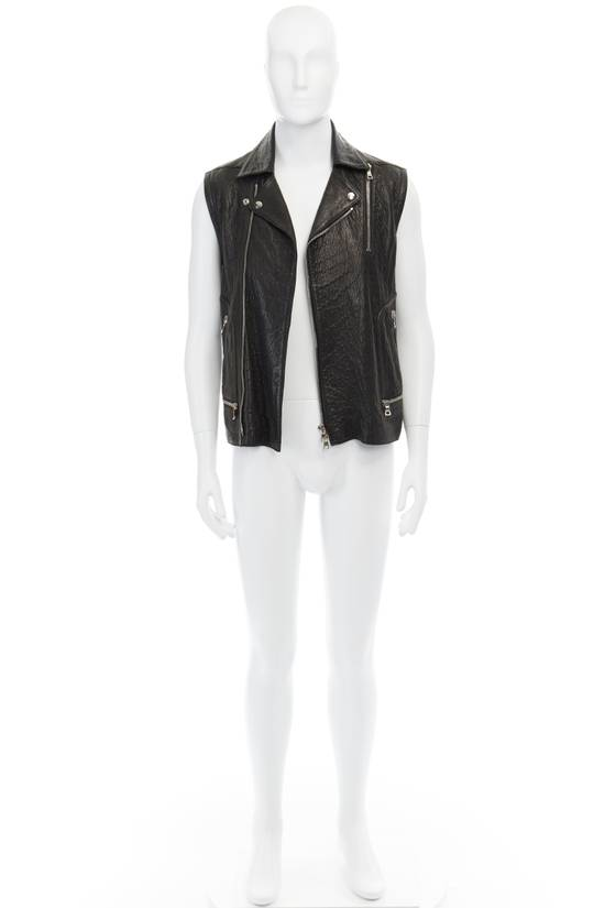 Balmain BALMAIN classic black pebble leather sleeveless biker jacket S FR46 US36 UK36 Size US S / EU 44-46 / 1 - 1