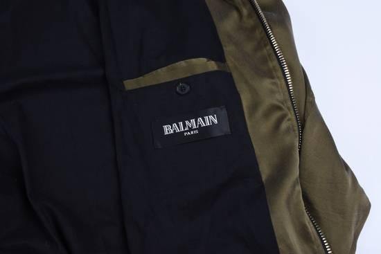 Balmain Olive Silk Bomber Size US M / EU 48-50 / 2 - 1