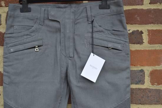 Balmain Grey Distressed Biker Jeans Size US 27 - 1