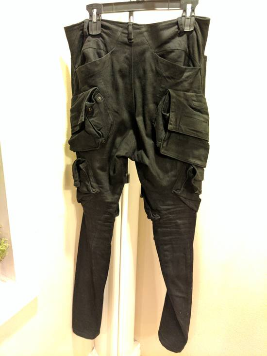 Julius Mint Archive Prism SS15 Runway Cargo Pants in black waxed stretch denim size 2 Size US 31 - 2