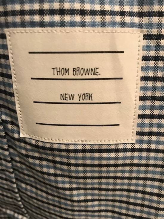 Thom Browne Blue Gingham Shirt with Grosgrain Arm Bands NEW Size US L / EU 52-54 / 3 - 9