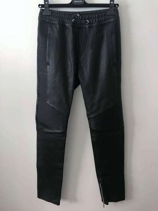 Balmain LAST DROP! Size M Fits S - Slim Fit Leather Ribbed Biker Style Sweatpants - $3100 Retail Size US 30 / EU 46 - 4