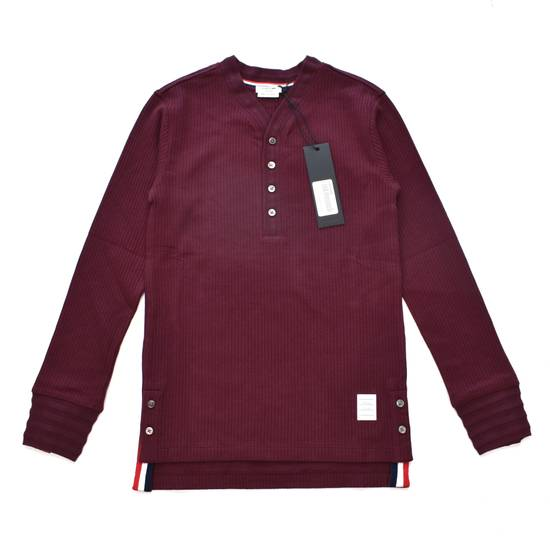 Thom Browne Wine Red Ribbed Henley Shirt NWT Size US XS / EU 42 / 0