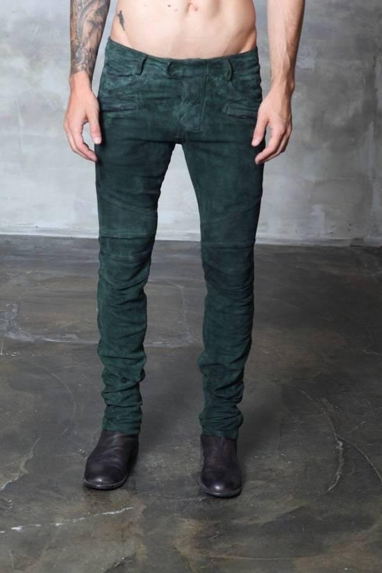 Balmain Balmain Green Lamb Suede Leather Biker Pants Size: 28-XS Size US 28 / EU 44
