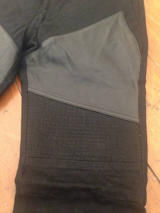 Givenchy Black Leather-patched Biker Jeans Size US 31 - 2