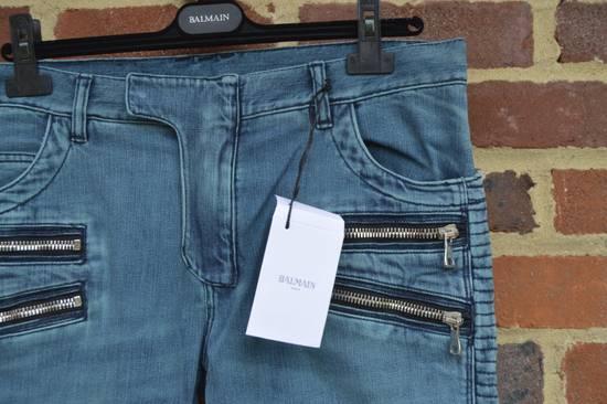 Balmain Turquoise Double Zip Biker Jeans Size US 34 / EU 50 - 6