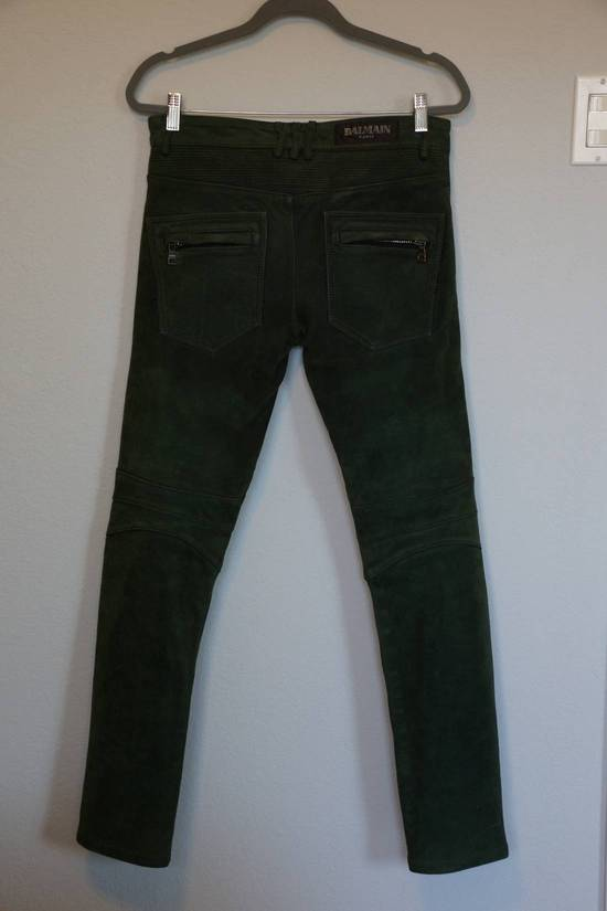 Balmain Balmain Green Lamb Suede Leather Biker Pants Size: 28-XS Size US 28 / EU 44 - 4