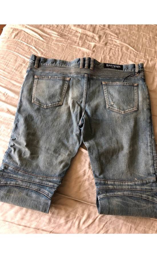 Balmain Blue Distressed Biker Jeans Size US 38 / EU 54 - 5