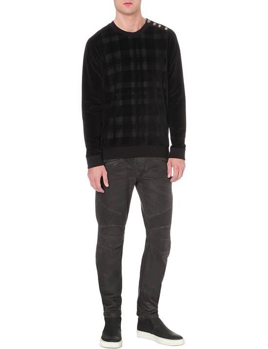 Balmain Black Waxed Biker Jeans Size US 36 / EU 52 - 2