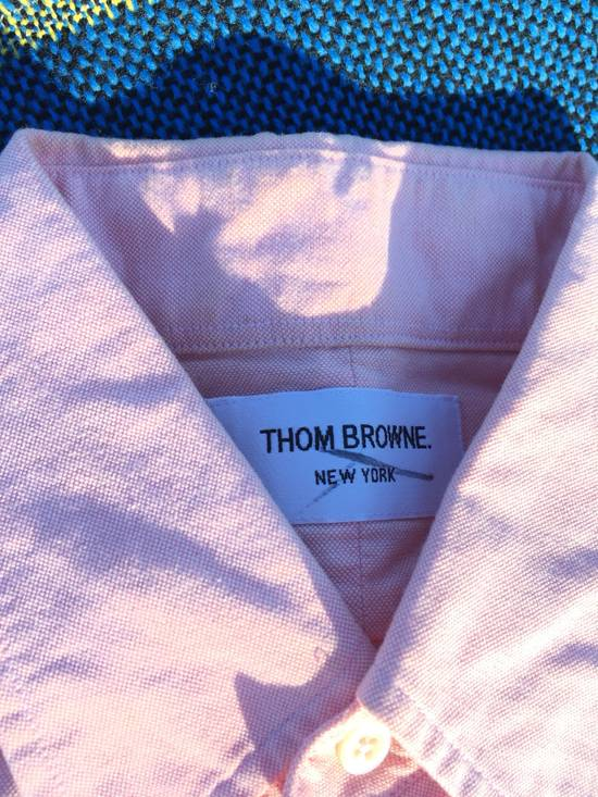 Thom Browne THOM BROWNE PINK OXFORD STRIPE SLEEVE FOUR WHITE BAR LONG SLEEVE SALMON PINK SIZE 2 Size US M / EU 48-50 / 2 - 4