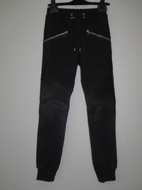 Balmain Leather and cotton biker sweatpants Size US 32 / EU 48 - 1