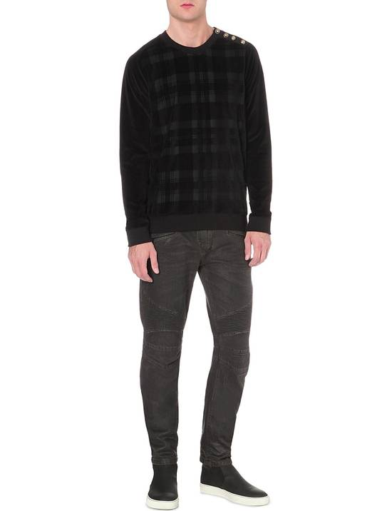 Balmain Black Waxed Biker Jeans Size US 33 - 2