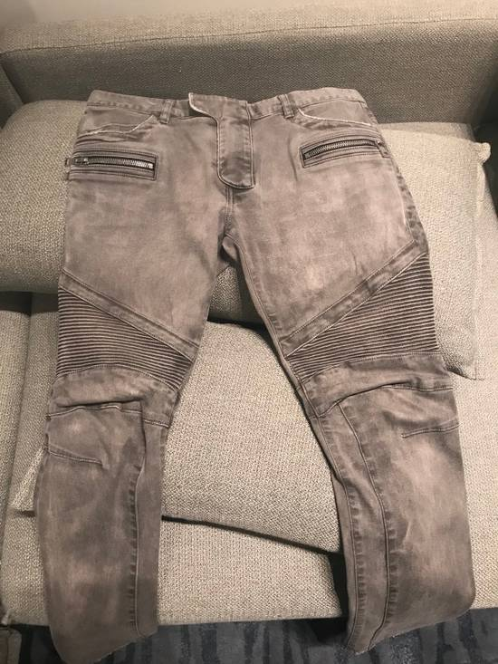 Balmain Grey Biker Jeans Size US 32 / EU 48