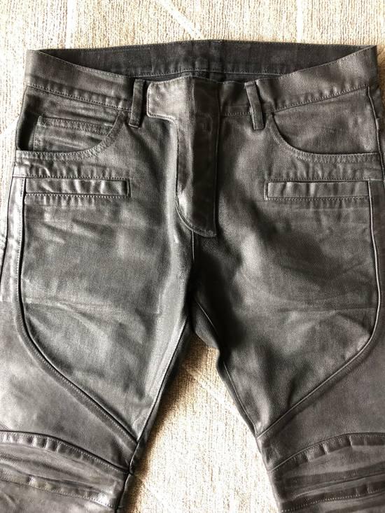 Balmain Biker Jeans Waxed Leather Knee Size US 30 / EU 46 - 1