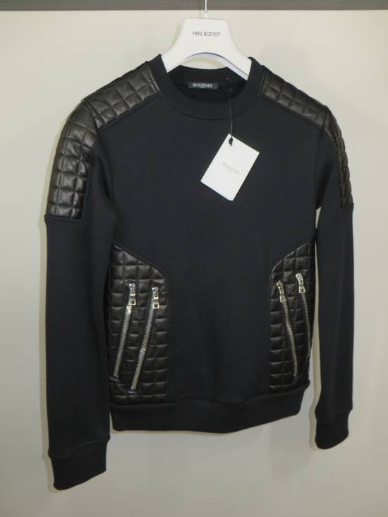 Balmain Quilted leather and cotton sweatshirt Size US XS / EU 42 / 0