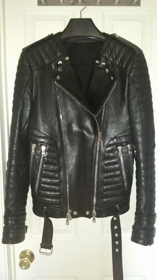Balmain Black Lambskin Overlong Biker Perfecto Jacket EU48/US38 Size US M / EU 48-50 / 2 - 2