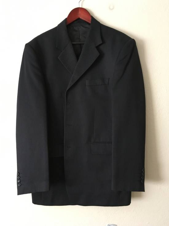 Givenchy GIVENCHY Wool Twill Three Button Navy Pinstripe Suit Jacket Drop 6 Size 42R