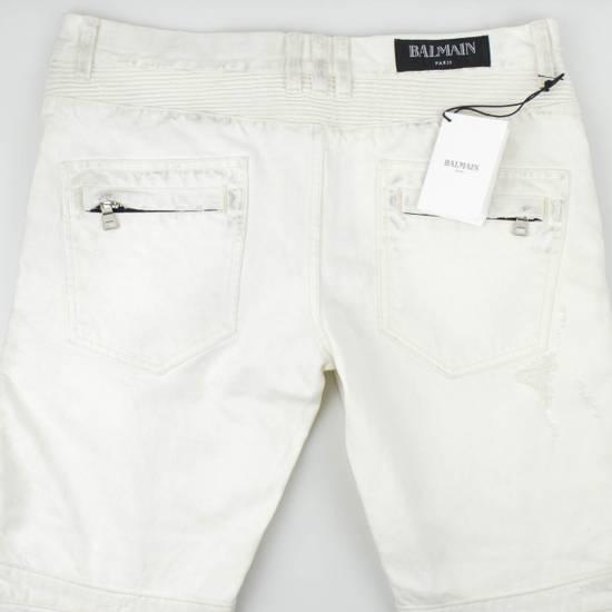 Balmain White Cotton Denim Distressed Biker Jeans Pants Size US 34 / EU 50 - 4