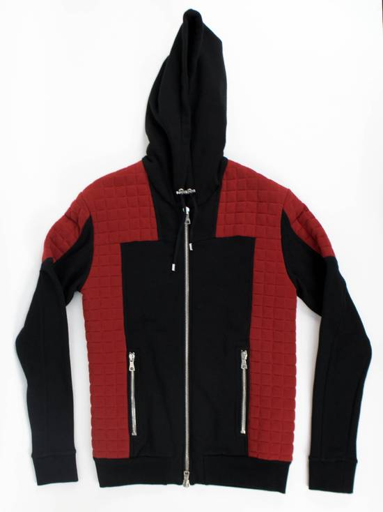 Balmain Red/Black Cotton Hooded Zipper Sweatshirt Size M Size US M / EU 48-50 / 2