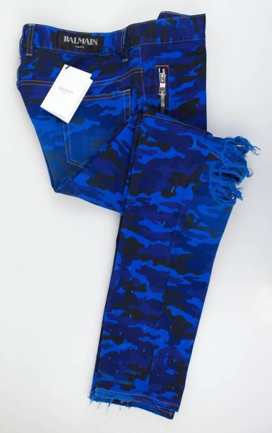 Balmain Blue Camouflage Denim Distressed Jeans Pants Size US 30 / EU 46