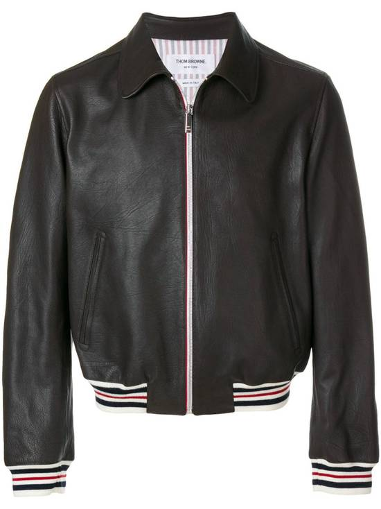 Thom Browne NEW WITH TAG, Striped Detail Leather Jacket (SIZE 4 - FITS SMALLER) Size US XL / EU 56 / 4 - 2