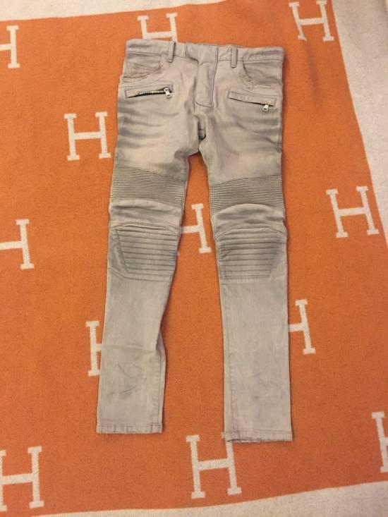 Balmain Grey Biker Denim Jeans Size US 30 / EU 46