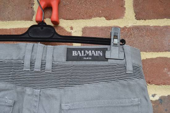 Balmain Grey Distressed Biker Jeans Size US 32 / EU 48 - 4