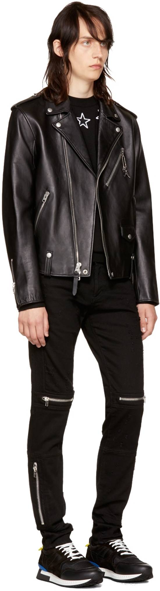 Givenchy Distressed Denim Biker Skinny Jeans, Black Size US 34 / EU 50 - 2