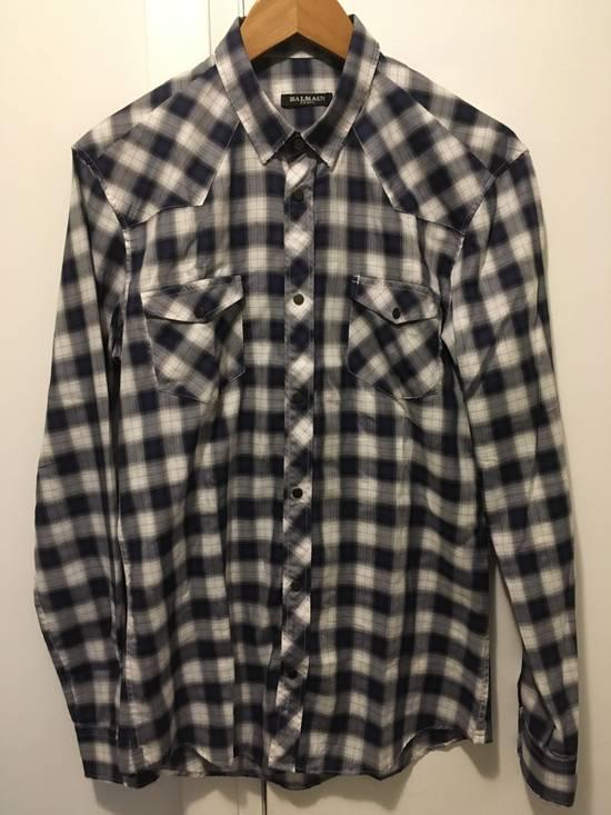 Balmain AW10 Shadow Plaid Western Shirt Size US S / EU 44-46 / 1