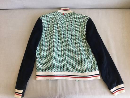 Thom Browne Thom Browne Green/Navy/White One by One Rubber Tweed Varsity Jacket w/ Navy Suede Sleeves Size US XS / EU 42 / 0 - 1