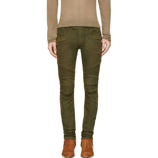 Balmain Very Rare Balmain Khaki Green Cotton Stretch Skinny Biker Jeans Size 28 Size US 28 / EU 44