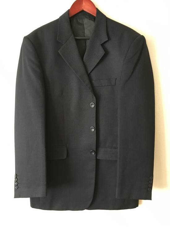 Givenchy GIVENCHY Wool Twill Three Button Navy Pinstripe Suit Jacket Drop 6 Size 42R - 3