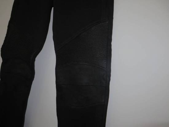 Balmain Leather and cotton biker sweatpants Size US 32 / EU 48 - 3