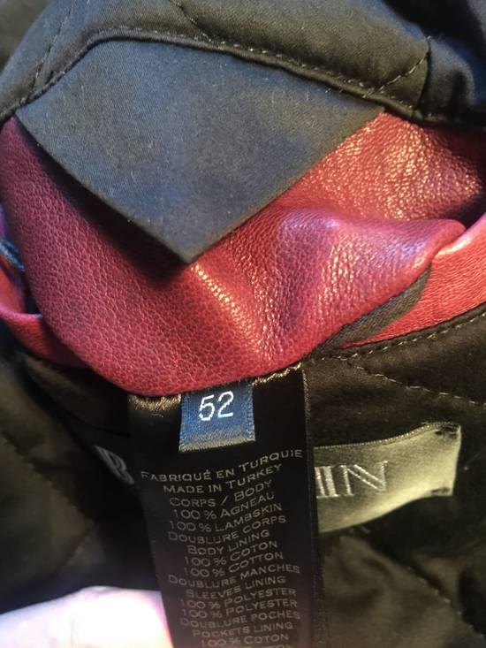 Balmain Lambskin Burgundy Biker Jacket Size US L / EU 52-54 / 3 - 1