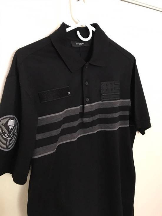 Givenchy Givenchy Polo, Striped Black Grey, Military Patches Flag, Cuban Fit, Size Large, Retail $530 Size US L / EU 52-54 / 3 - 3