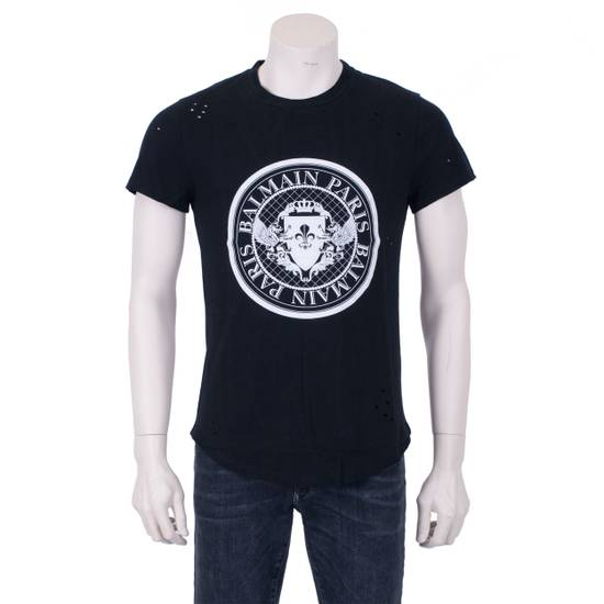 Balmain SS18 Black Cotton Balmain Velvet Logo Print Tshirt Size US S / EU 44-46 / 1 - 4
