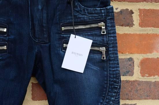 Balmain Dark Blue Double Zip Biker Jeans Size US 29 - 2