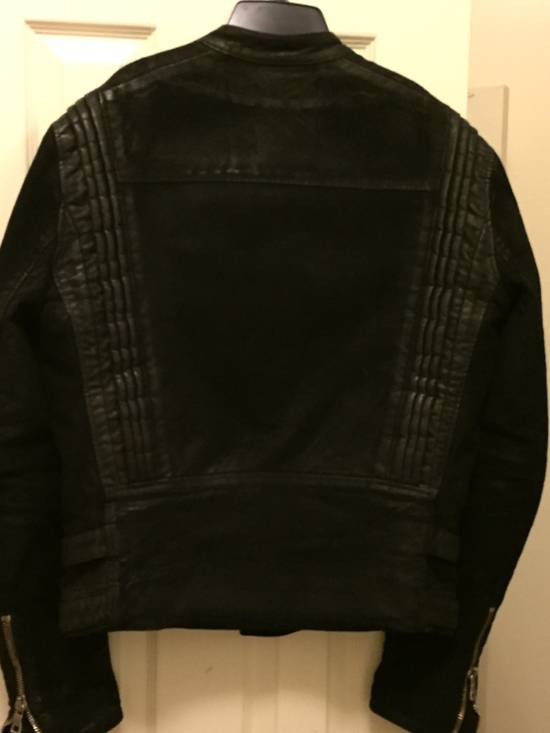 Balmain RARE Waxed Moleskin Biker Jacket Size US L / EU 52-54 / 3 - 6