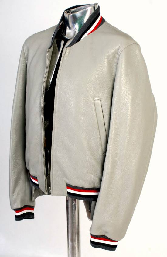 Thom Browne Thom Brown Deerskin Leather Varsity Jacket Grey Size 3 EU50 Medium RRP $3325 Size US M / EU 48-50 / 2 - 6