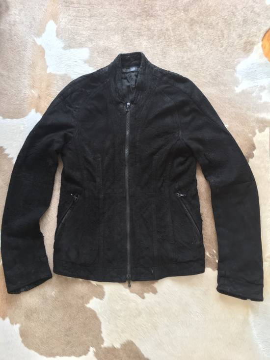 Julius $2200 Lamb Leather Blistered And Reversed Moto Jacket Made In Japan In Mint Condition Size US M / EU 48-50 / 2