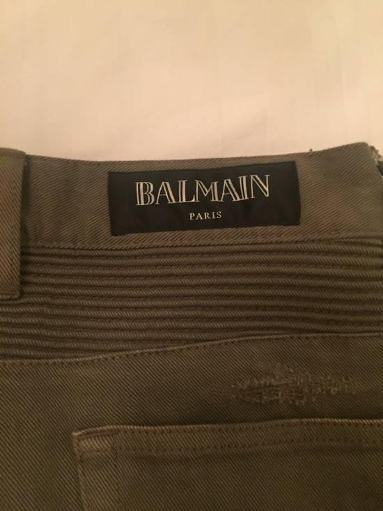 Balmain Green Moto Jeans Size US 31 - 3