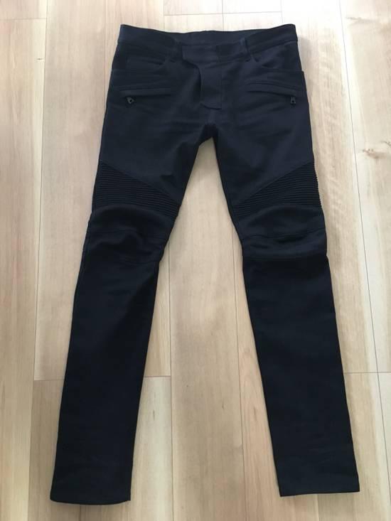 Balmain SS17 Balmain Biker Black Raw Jeans Size US 33 - 1
