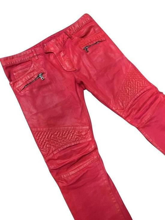 Balmain Balmain Signature Men's Wax Coated Denim Scarlet Red Motto Zip Jeans sz 36 Size US 36 / EU 52 - 2